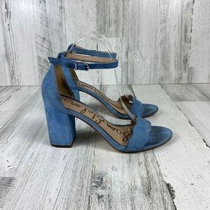 SAM EDELMAN blue suede block heels